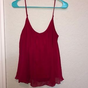Express — red, flowy spaghetti strap top